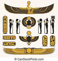 ägyptische Symbole und Dekorationen