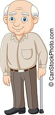 älter, altes , karikatur, älterer mann