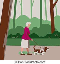 älter, altes , karikatur, frau, outdoor., pensionär, wohnung, alleine, wald, senioren, aktivität, laufenden hund, sorgfalt, haustier, abbildung, spaziergänge, park, draußen, style., vektor