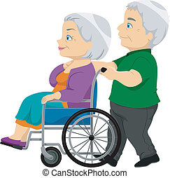 älter, dame, rollstuhl, altes ehepaar