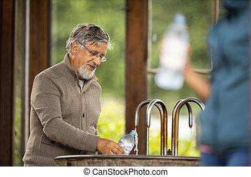 älter, trinkwasser, mineral, mann, spa, hübsch