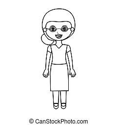 Ältere Frau Silhouette mit Brille.