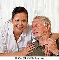 ältere, heime, krankenpflege, senioren, krankenschwester, sorgfalt