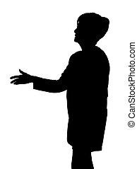 Ältere Lady Silhouette, die Hand reicht, um mit Handschlag zu begrüßen.