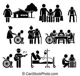 Ältere Pflege, alte Leute zu Hause zu pflegen