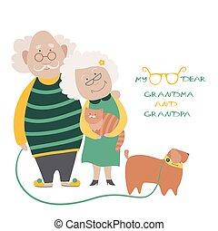 Älteres Paar mit ihrem Hund.
