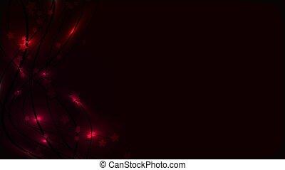 Ändern Sie den kosmischen dunklen Hintergrund mit glühenden Wellenlinien und Lichterleuchten und Sternchen. Rote Sterne und Streifen auf einem dunklen Hintergrund und kopieren Raum. Vector Illustration