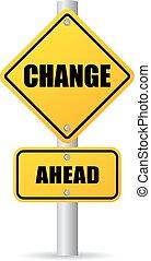 änderung, voraus, straße zeichen