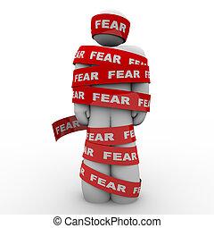 ängstlich, erschrocken, band, aufgewickelt, fürchten, rotes , mann