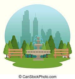 Öffentlicher Park in der Stadt.