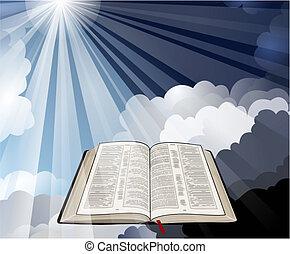 Öffne Bibel mit Lichtstrahlen