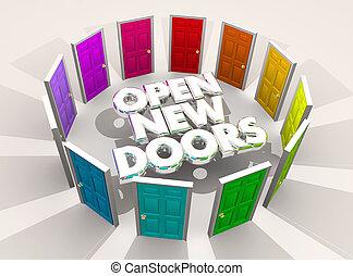 Öffnen Sie neue Türen fordert Chancen Wörter 3d Illustration.