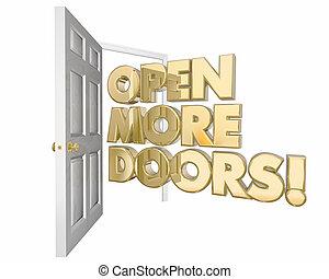 Öffnen Sie weitere Türen neue Chancen Wort 3d Animation.
