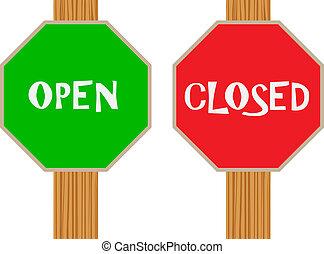 Öffnen und geschlossen.