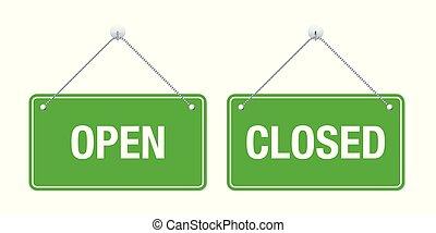 Öffnen und geschlossene Vektorschilder.