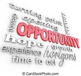 öffnung, erfahrung, chance, wörter, neu , gelegenheit