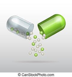 öffnung, kapsel, medizin, grün