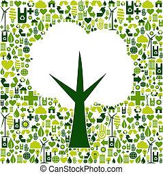 Ökobaumsymbol mit grünen Symbolen