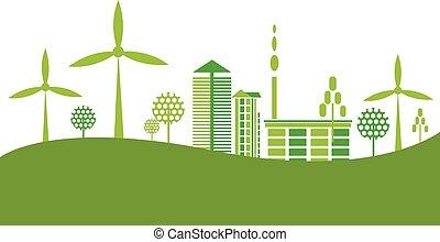 Ökofreundliche grüne Stadt Hintergrund.