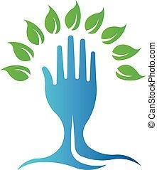 Ökogrüner Handbaum. Vector Logosymbol