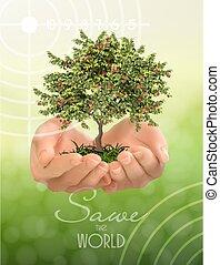 ökologie, concept., vektor, schuetzen, hintergrund, baum, grün, umwelt, hände, illustration.