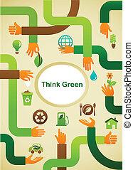 Ökologie - Grüner Hintergrund mit Händen und Grafiksymbol