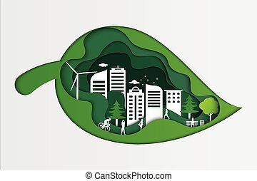 ökologie, gras, blatt, öffentlichkeit, städtisch, origami, ansicht, idea., city., park, grün, natur, sommer, begriff