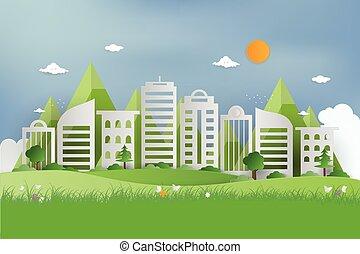 ökologie, gras, wallpaper., öffentlichkeit, hintergrund, grün, städtisch, origami, ansicht, kleingarten, idea., city., park, gebrauchend, cityscape, natur, sommer, begriff