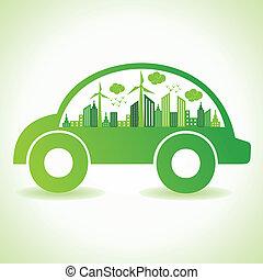 Ökologie-Konzept mit Öko-Auto.