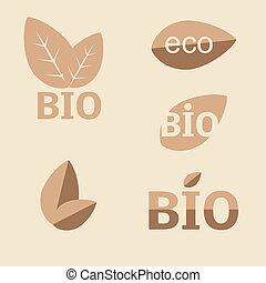 Ökologie, organische Ikonen. Öko-Lizenzen