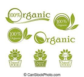 Ökologie, organische Ikonen. Organisches Logo, Icons für natürliche Lebensmittel. Bio, organisch, vegan frisch usw. Green Vektor-Labeldesign.