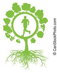 Ökologie Umweltgrün Baum mit Wurzeln und laufen gesundem Manvektor Hintergründen Konzept.