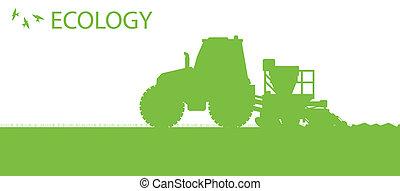 Ökologischer Hintergrund, ökologisches Vektorkonzept mit Traktor und Saatgut, das auf einem Feld für ein Poster anbaut