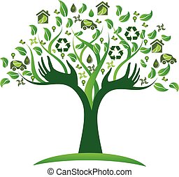Ökologisches grünes Baumhand-Logo.