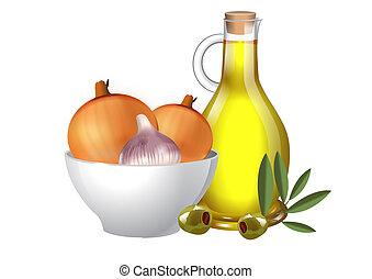 Öl und Zwiebeln