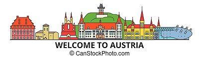 Österreich skizzierte Skyline, austrianische flache dünne Linien Icons, Wahrzeichen, Illustrationen. Österreich Cityscape, österreichisches Reisestadt-Vektorbanner. Urban Silhouette