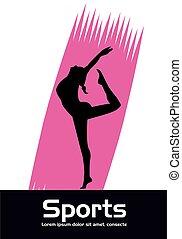 üben, frau, athletische, silhouette, sport, tanz
