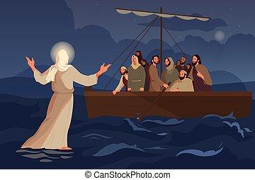 über, bibel, jesus, jünger, gehen, narratives, water., säge
