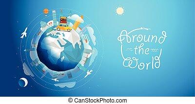 Über die Welttournee mit dem Auto. Reisekonzept vektorgrafik