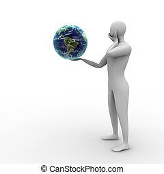 über, schicksal, denken, während, mann, earth., 3d
