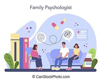 über, sprechende , mitglieder, problem, ihr, psychologist., familie