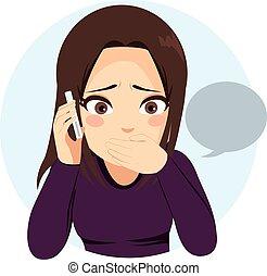 Überraschtes Mädchentelefon.