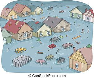 überschwemmt, stadt