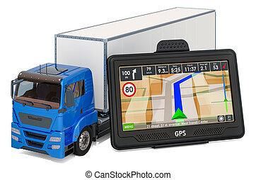 übertragung, schifffahrt, gps, 3d, lastwagen