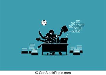überwältigt, arbeits büro, work., beschäftigt, mann