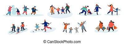 überwintern aktivitäten, familie, verschieden, satz, acht