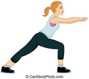 Übung, Frau, die sich strecken, Illustration.