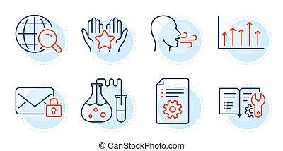 übung, post, atmen, vektor, heiligenbilder, wachstum, sicher, tabelle, set.