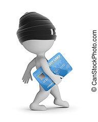 -, 3d, karte, leute, dieb, kredit, klein