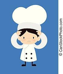 -, besorgt, karikatur, reizend, küchenchef
